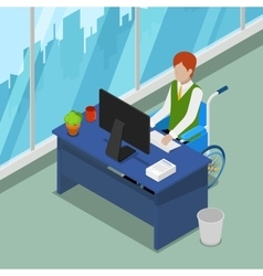 Disable person in wheelchair working at office vector