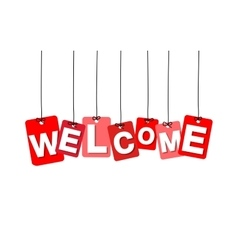 Colorful hanging cardboard tags - welcome vector