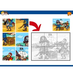 Jigsaw puzzle activity with pirates vector