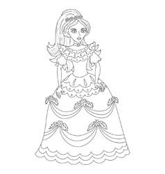 Beautiful princess in elegant dress coloring book vector image