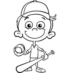 Boy baseball player coloring page vector