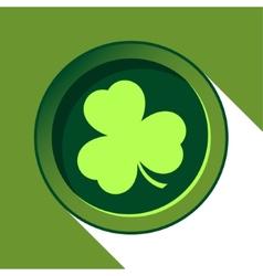 Button with light green shamrock vector