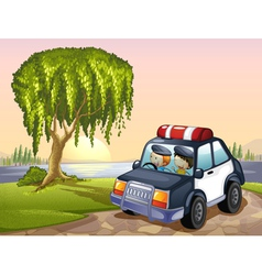 car and kids vector image vector image