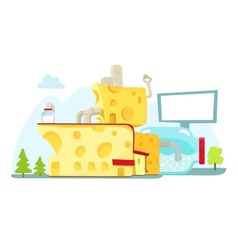 Cheese house farm milk architecture vector