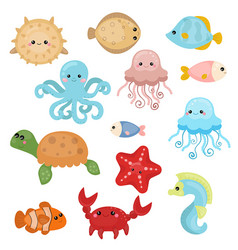 Cute sea creatures cute sea creatures vector