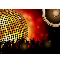 Disco ball and crowd with speaker vector image vector image