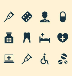 Drug icons set collection of polyclinic healer vector
