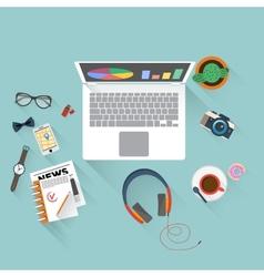 Flat design of office workspace vector