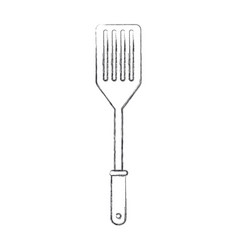 frying spatula flat monochrome blurred silhouette vector image vector image