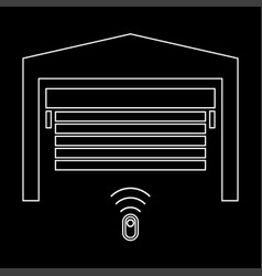 garage door the white path icon vector image vector image