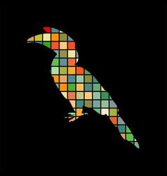 Hornbill bird mosaic color silhouette animal vector
