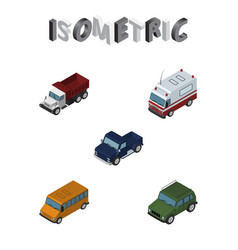 Isometric car set of autobus first-aid freight vector