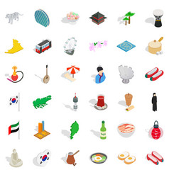japanese culture icons set isometric style vector image