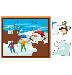 jigsaw puzzle pieces of boys and snowman vector image vector image