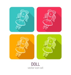 Line art doll icon set in four color variations vector