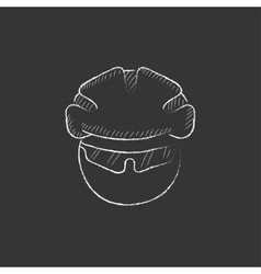 Man in bicycle helmet and glasses drawn in chalk vector