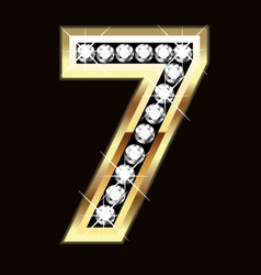 Number seven bling gold and diamonds vector