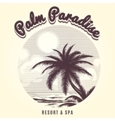 Palm tree and ocean sketch logo vector image