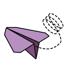 Paper plane toy entertain line dotted vector