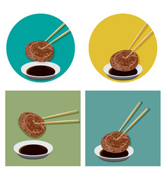 piece of meat is holding with chopsticks and sauce vector image