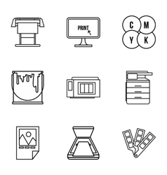 Printing icons set outline style vector