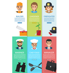 Professions theme and auxiliary elements six cards vector
