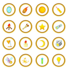 Sources of light icons circle vector