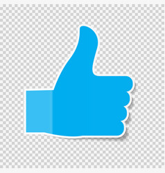 Sticky paper thumbs up sign note on transparent vector