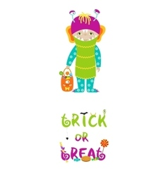 Trick or treat halloween card with cute monster vector image
