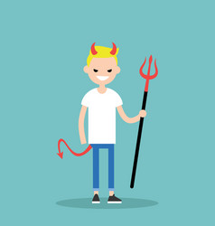 young character wearing devil elements horns tail vector image