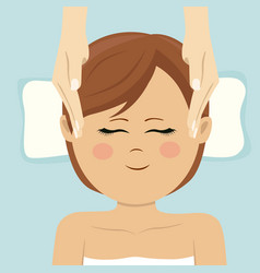 young woman having head massage in spa top view vector image