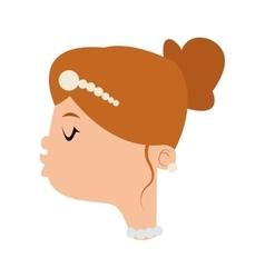 Happy bride kiss icon vector