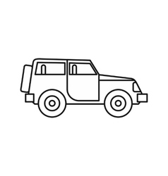 Jeep icon in outline style vector image