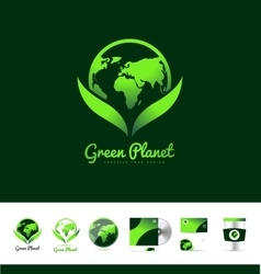 Green planet earth logo icon design vector