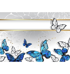 Narrow banner with butterflies morpho vector