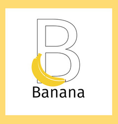Banana and letter b coloring page vector