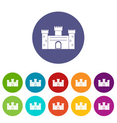 Medieval palace icons set flat vector