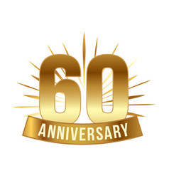 Anniversary golden sixty years number vector
