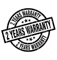 2 years warranty round grunge black stamp vector image vector image
