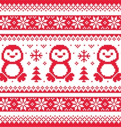 Christmas winter knitted pattern with penguins - vector