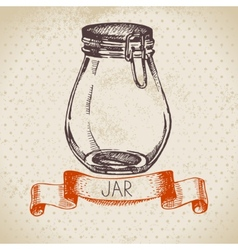 Rustic mason and canning jar Vintage hand drawn vector image