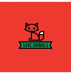 Save the animals concept with red fox vector