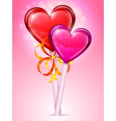 Heart lollipops vector image