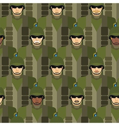 Marines seamless pattern soldiers in helmets and vector