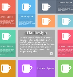 Cup coffee or tea icon sign set of multicolored vector