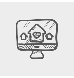 Online monitoring sketch icon vector