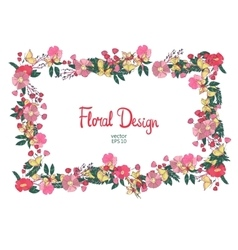 Floral frame with flowers berries and butterfly vector