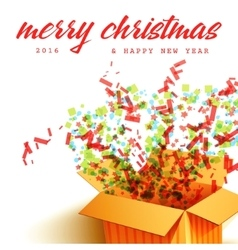 Merry christmas and open gift with fireworks vector