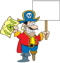 Cartoon pirate hodling a map and a sign vector