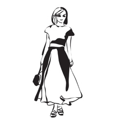 Fashion girl sketch vector